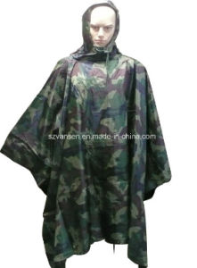 Stock Waterproof Military Camouflage Long Raincoat pictures & photos