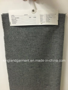 Polyester Linen Look Wide Width Fireproof Grey Thick Curtain pictures & photos