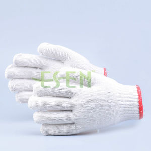 Common White Cotton Knitted Gloves White Cotton Hand Gloves (K10-B1-7) pictures & photos