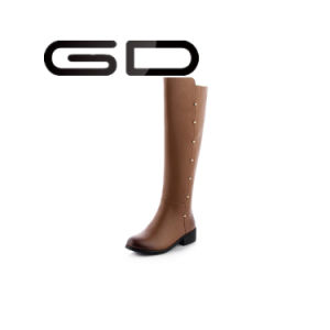 Gd High Quality Flat with Black Boots with Real Leather Long Boots pictures & photos