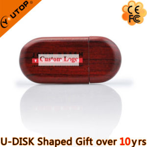 Walnut/Bamboo/Wood Oval USB Flash Drive for Gifts (YT-8103) pictures & photos