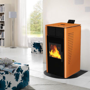 Modern Design Wood Pellet Stove with Yellow Color pictures & photos