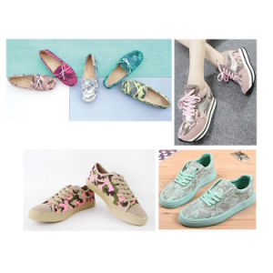 Synthetic Camouflage PU Leather for Oxford Sports Shoes Flats Hx-S1766 pictures & photos