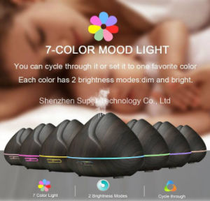 400ml Wood Grained Shark Essential Oil Diffuser with LED Light pictures & photos