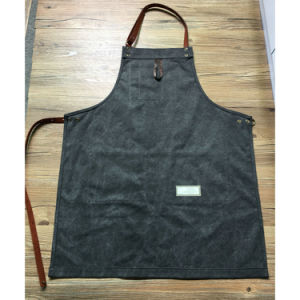 High Quality Durable Grey Canvas Work Aprons with Genuine Leather Strap for Men pictures & photos