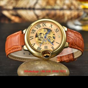 Fantsatic Fashionable Automatic Women′s Watch with Genuine Leather Strap Fs614 pictures & photos