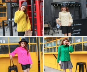 High Quality Hand Knitting Girls Chunky Cable Knit Jumper Sweater pictures & photos