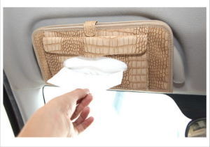 Alligator Skin Pattern Three in One Paper Towel with Sun Shading Board CD Clip Car Paper Tissue Box Auto Supplies Bag pictures & photos