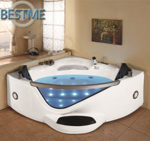 Freestanding Whirlpool Jacuzzi Acrylic Massage Corner Bath Tub with Glass (BT-A1021) pictures & photos