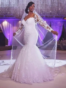 Sexy Plus Size off-The-Shoulder Long Sleeve Lace Mermaid Wedding Dress (Dream-100078) pictures & photos