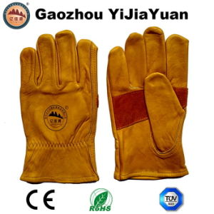 Cow Grain Leather Labor Industrial Safety Driving Work Gloves pictures & photos
