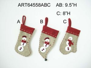 Jute Stocking Designed with Button Snowman Decoration Gift-3asst. pictures & photos