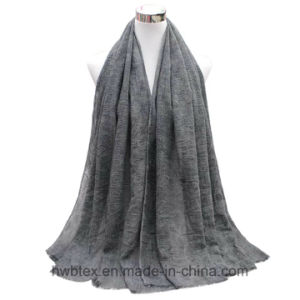 BSCI Factory Top Quality Plain Color Fashion Scarf with Diamond Construction (HWBLC022) pictures & photos