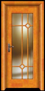 Solid Wood Interior PVC Veneer Laminated Swing Glass Door pictures & photos