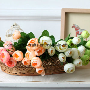 Camellia Bud Artificial Flower Bouquet with 5 Branch&10heads pictures & photos