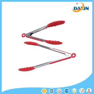 9 and 12 Heat Resistant Stainless Steel Kitchen Tools Silicone Tongs pictures & photos