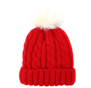 Custom New Design Hand Knitted Hat with Fur POM POM pictures & photos