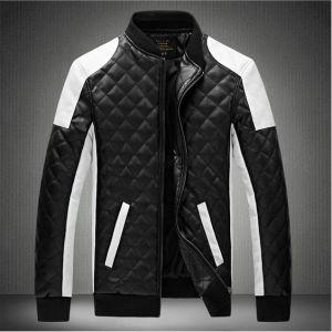 Men′s Diamond PU Coat Skin Color Leather Collar Locomotive Jacket (6066) pictures & photos