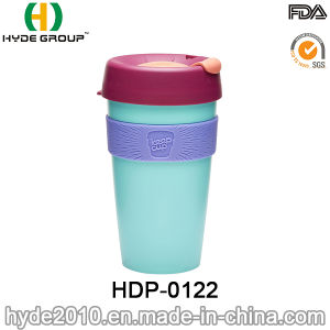Customized Double Wall Plastic Coffee Mug with Silicone Band (HDP-0122) pictures & photos
