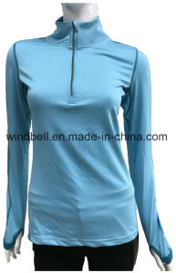 Plain Long Sleeve Training Sportswear T Shirt for Women with Reflective Arrow pictures & photos