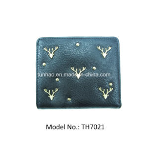 Euro Style Elk Deer Deco Minimalistic Card Management Black PU Wallet pictures & photos