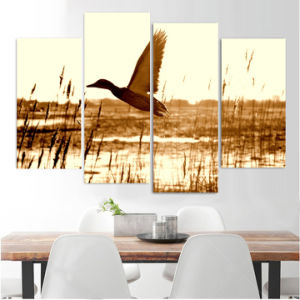 HD Printed 4PCS Duck Training to Fly Painting on Canvas Room Decoration Print Poster Picture Canvas Framed Mc-012 pictures & photos