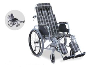 Aluminum Manual Folding Reclining High Back Wheelchair (SC-AW27) pictures & photos