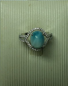 Natural Larimar Sterling Silver Jewellery in Ring (R0305)