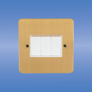 British Standard 10AMP 3 Gang 1 (2) Way Light Switch, Flat Brushed Brass pictures & photos