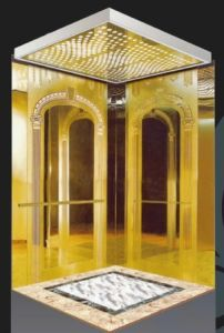 Gold Etched Passenger Lift with CE Standard