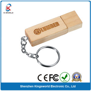 Wooden USB Flash Memory Stick with Keyring