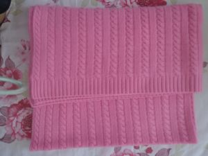 Cashmere Cable Blanket or Throw in Pink (NBA-01)