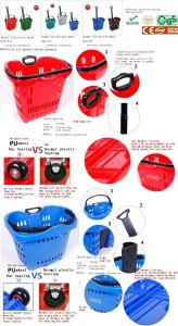 Plastic Supermarket Basket Trolley pictures & photos