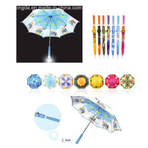Logo Printed Installed Light in Handle Straight Umbrella (YSC0001) pictures & photos