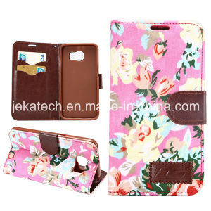 Flower Card Slot Leather Case for Samsung Galaxy S6 pictures & photos
