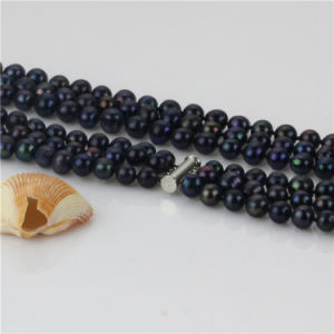 Snh 3 Rows 8-9mm Wedding Pearl Necklace Wholesale pictures & photos