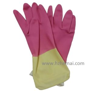 Bi-Color Latex Household Glove pictures & photos
