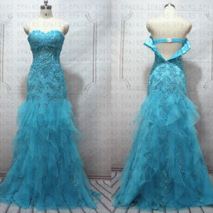 High Quality Beaded Lace Tulle Bule Crystal Prom Dress Long Evening Gown for Special Occasion