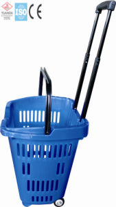 Plastic Handle Basket Shopping with Wheels (YD-Z10) pictures & photos