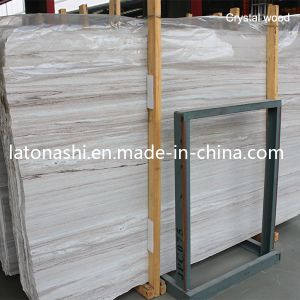 Polished China White Wooden Vein Marble Slab for Pvaing, Countertop pictures & photos