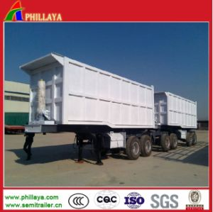 Hydraulic Double Dumping Truck Cargo Trailer with 40cbmx2dumpers pictures & photos