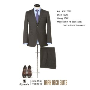 OEM Peak Lapel Wool Slim Fit Men′s Business Suit pictures & photos