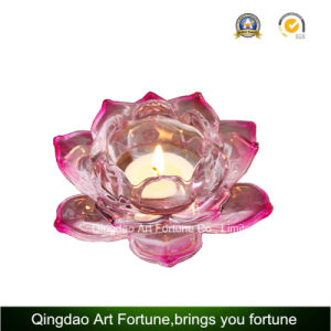Lotus Glass Tealight Candle Holder for Home Decoration pictures & photos