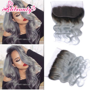 7A Peruvian Virgin Hair 1b Grey Ombre Lace Frontal pictures & photos