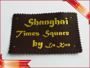 Gold Stamping Leather Patch Clothing PU Leather Patch pictures & photos