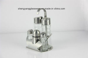 5 PC Spice Glass Bottle Set with Matel Stand pictures & photos