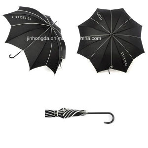 Logo Printing Black Leaf Shape Canopy Straight Umbrella (YSC0007) pictures & photos