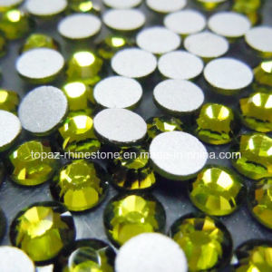 Round Shape Olivine Color Silver Base Crystal Rhinestones Flat Back Strass pictures & photos
