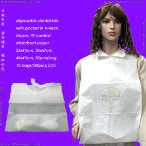 Waterproof Medical/Hospital/PP+PE/PP/SMS/Polypropene Nonwoven/Plastic/Polyethylene/Poly/HDPE/LDPE/PVC Disposable PE Apron, Disposable PE+Tissue Paper Dental Bib pictures & photos
