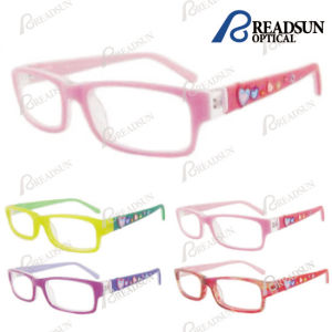 2015 Wholesale Colorful Girl Optical Glasses with Acetate Frame and Heart Rubber Temple(Oak pictures & photos